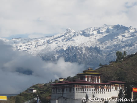 Paro Dzong in the snow