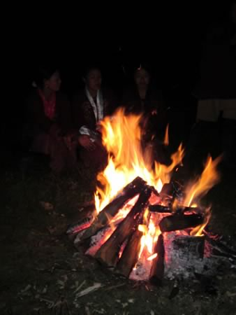 Fire pit while camping