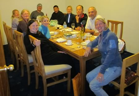 Group for final dinner in Bhutan