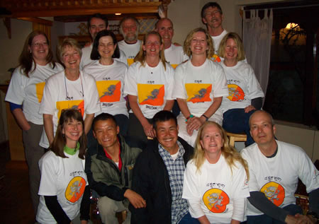 Co-ed group with Bhutan shirts