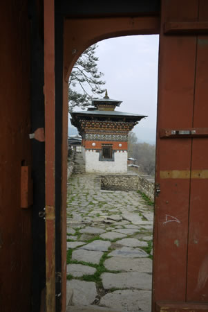 Doorway with Chorten in Bhutan