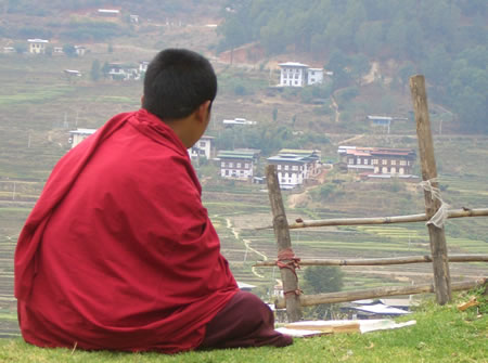 Monk enjoying view