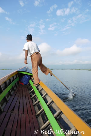 One-legged rower on Inle Lake, Burma