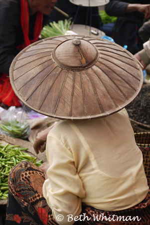 Woman vendor in Hat on Inle Lake, Burma