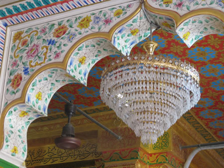 Chandelier at mosque in Delhi