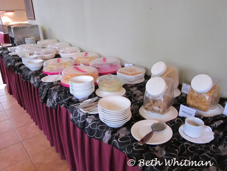 Breakfast spread at hotel