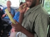 Eating sugar cane with the group