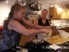 Kim making crepes with Diane looking on at Diane\'s Market Kitchen