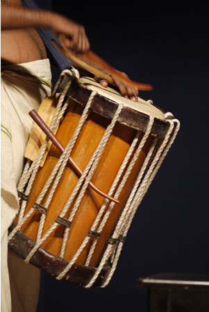 Drummer during Kathakali performance