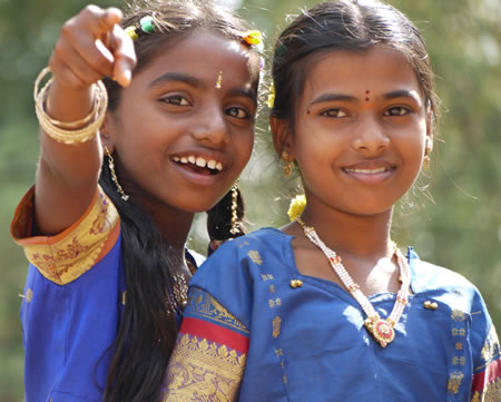 Young girls at temple