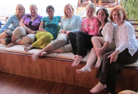 Group on boat in Kerala