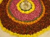 Flowers around altar for Pongal festival