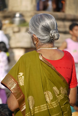 Woman with silver hair at festival