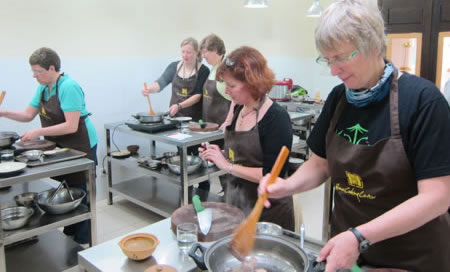 Group in cooking class