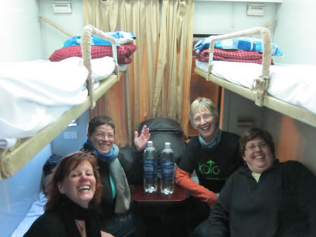 Group on overnight train