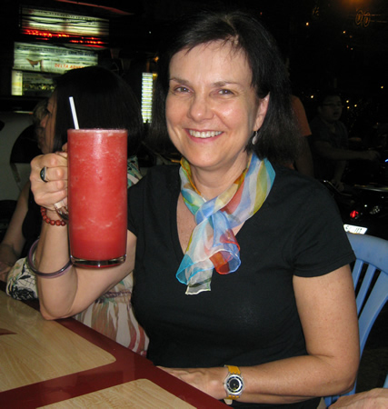 Karen with HUGE watermelon juice