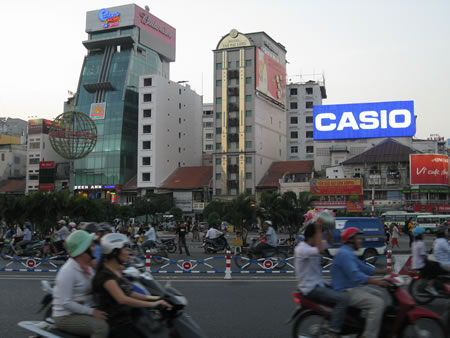 Saigon city at dusk