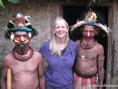 Beth Whitman with Huli Wigmen in Tari, Papua New Guinea