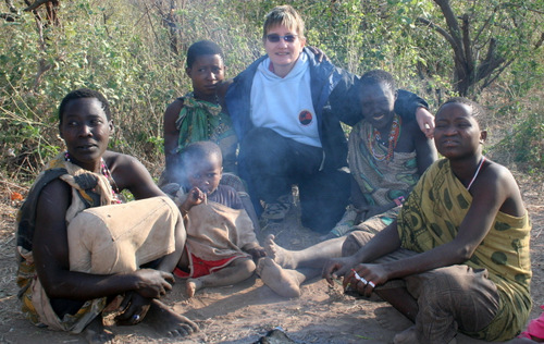 Leslie with Hadza people
