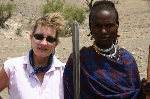 Leslie with Maasai 2001