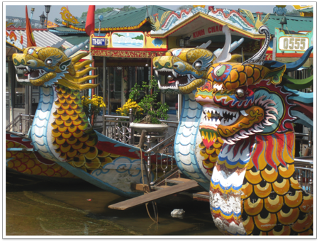 Boats on Perfume River in Hue