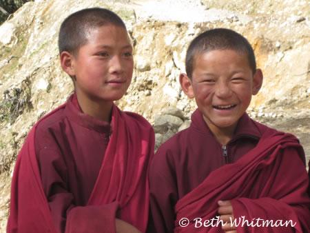 Boy monks on trek route