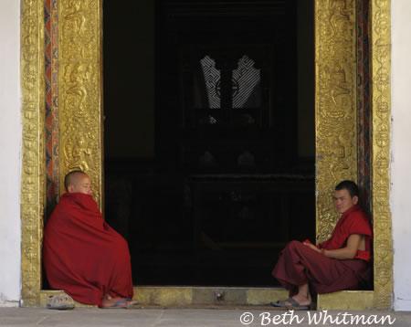 Monks at Punakha Dzong