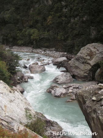 Raging river along trek