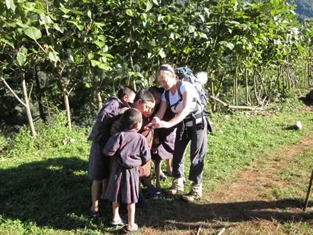 Cheryl with kids from Sakten