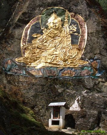 Guru Rinpoche relief in wall