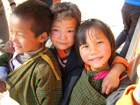 Kids having fun at temple