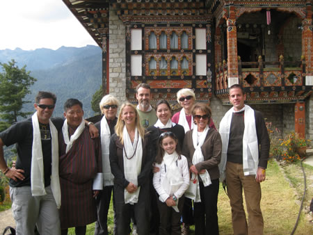 Co-ed group at temple