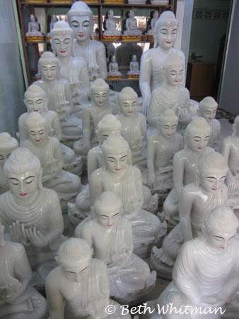 Marble Buddhas in Mandalay, Burma