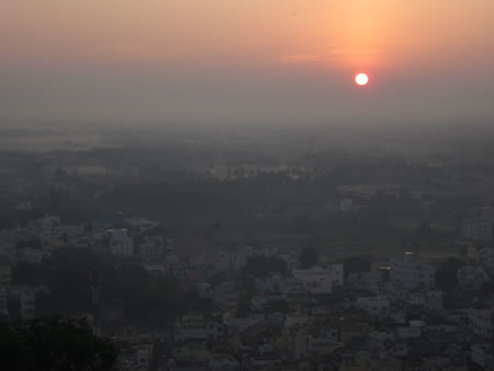 Sunrise from the top of the temple