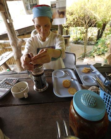 Fresh coffee brewing in village near Chiang Mai