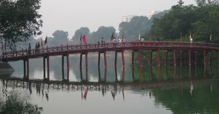 Bridge over Hoan Kiem Lake in Hanoi