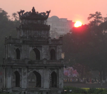 Hanoi sunset over Hoan Kiem Lake