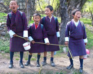 Boys Singing in Bhutan