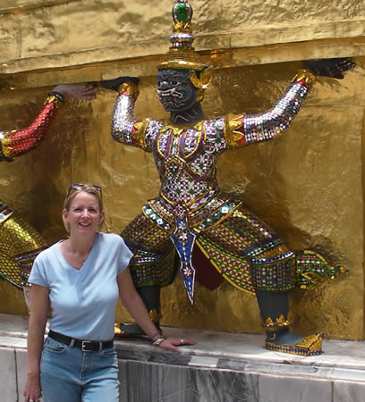 Beth Whitman at Temple in Bangkok