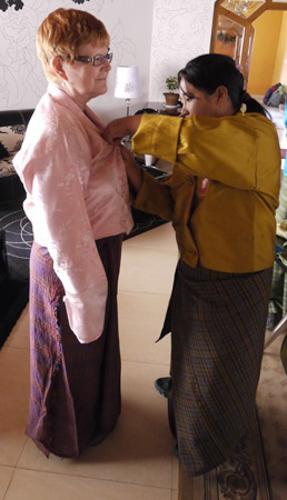 Bhutan dressing in a kira