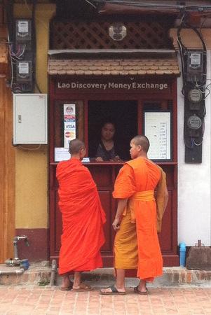 Lao Monks at Money Exchange
