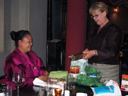 Giving gifts on the Bhutan tour