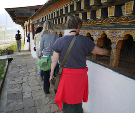 Turning Buddhist  Prayer Wheels