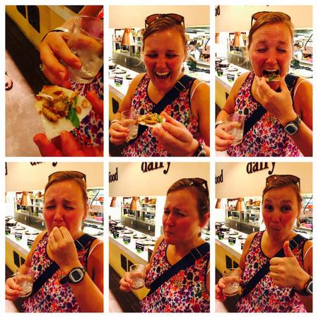 Eating silkworm salad