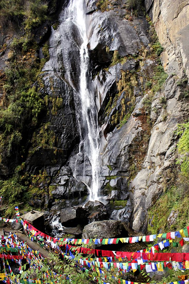 Waterfall and Prayer Flags